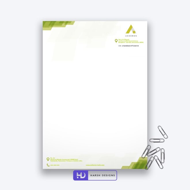 Acheron Letter Head Design - Corporate Identity and Business Stationery Design - Harsh Designs - Graphic Designing Service in Hyderabad