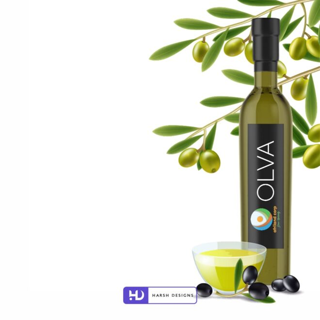 Afriland Corp Grow Naturally - Olva Oil Bottle 2 - Olva Oil Lable Design - Product Design - Lable Designs - Package Design - Graphic Designing Service in Hyderabad