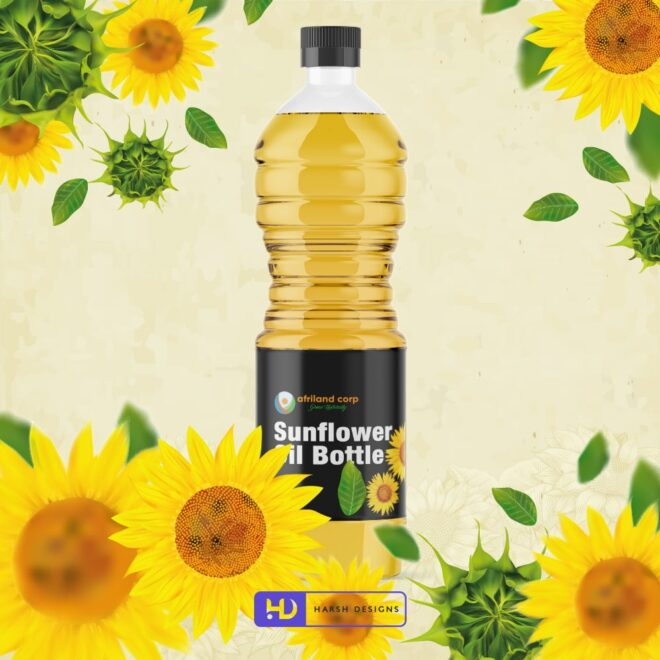 Afriland Corp Grow Naturally - Sunflower Oil Bottle 2 - Sunflower Oil Lable Design - Product Design - Lable Designs - Package Design - Graphic Designing Service in Hyderabad-min