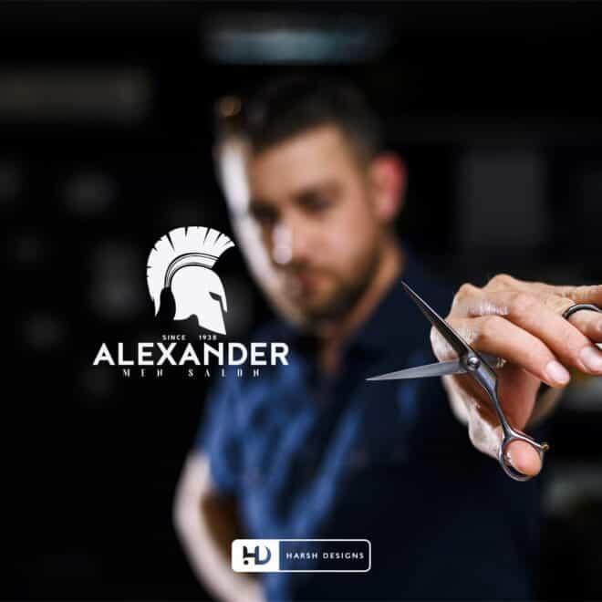 Alexander Men Salon - Salon Logo - Corporate Logo Design - Graphic Designing Service in Hyderabad