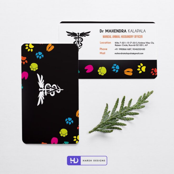Animal Husbandry Officer Business Card Design - Corporate Identity and Business Stationery Design - Harsh Designs - Graphic Designing Service in Hyderabad