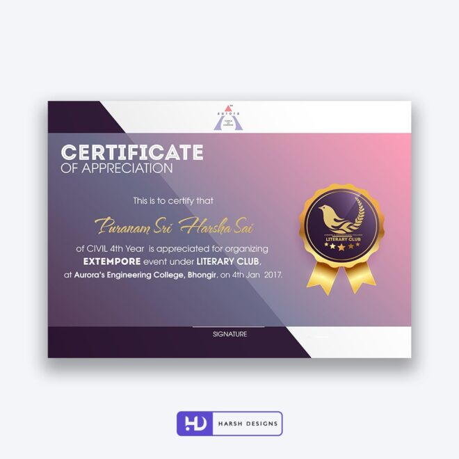 Aurora Engineering College Certificate Design 5 - Corporate Identity and Business Stationery Design - Harsh Designs - Graphic Designing Service in Hyderabad