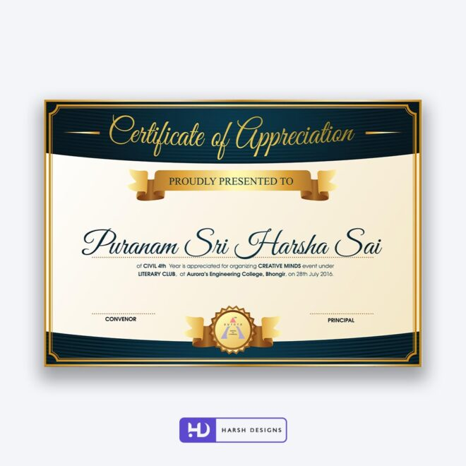 Aurora Engineering College Certificate Design 6 - Corporate Identity and Business Stationery Design - Harsh Designs - Graphic Designing Service in Hyderabad