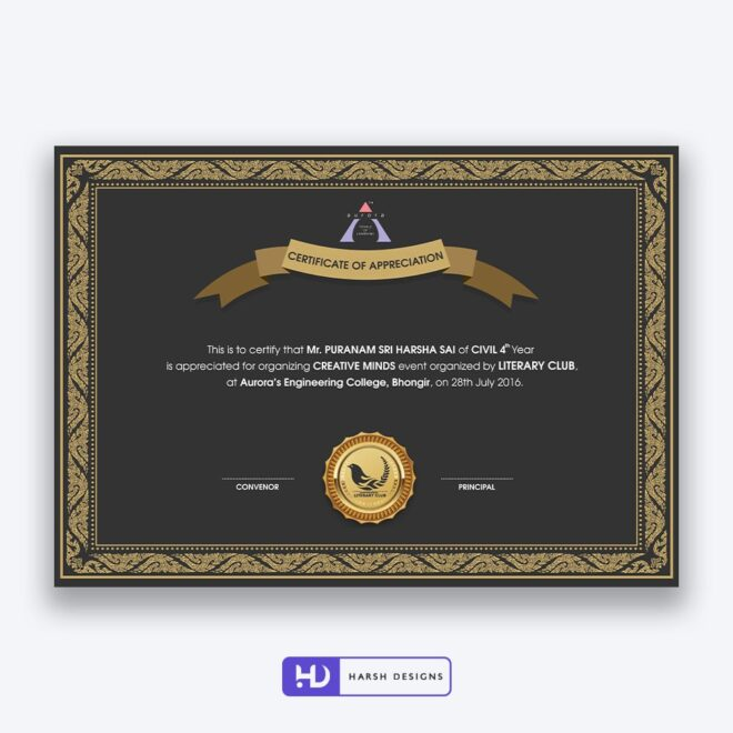 Aurora Engineering College Certificate Design 7 - Corporate Identity and Business Stationery Design - Harsh Designs - Graphic Designing Service in Hyderabad