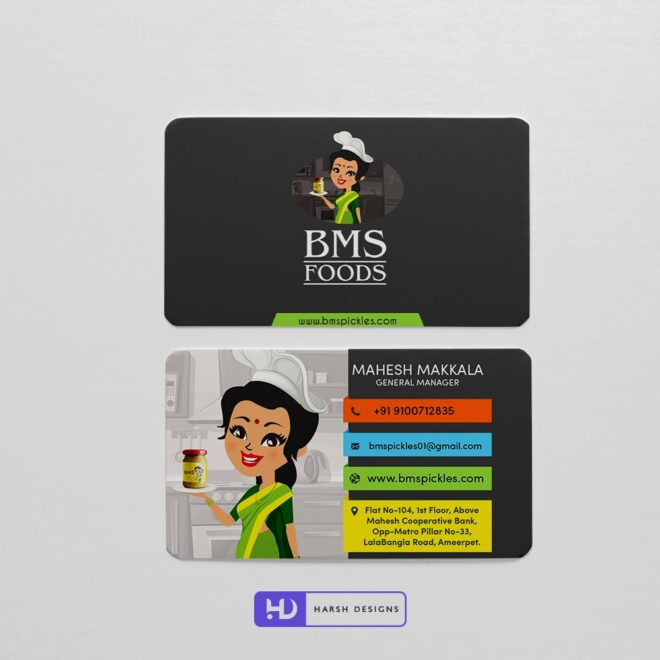 BMS FOODS Business Card Design - Corporate Identity and Business Stationery Design - Harsh Designs - Graphic Designing Service in Hyderabad