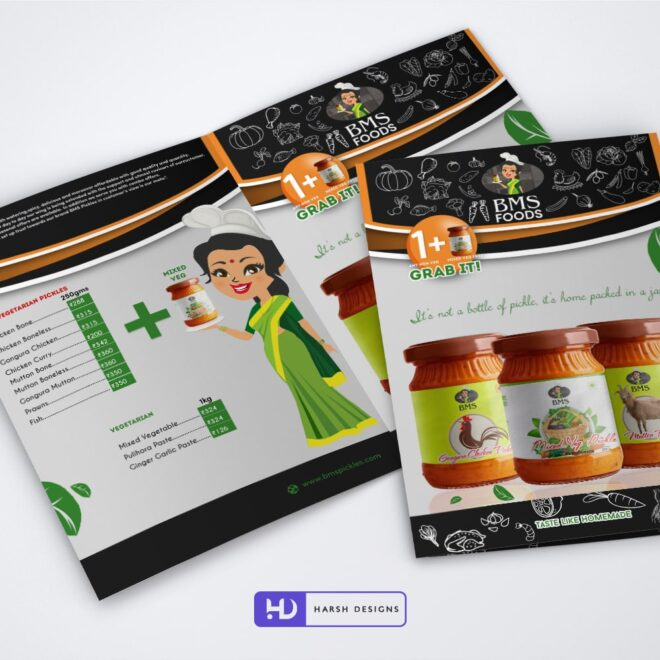 BMS FOODS Flyer Design - Corporate Identity and Business Stationery Design - Harsh Designs - Graphic Designing Service in Hyderabad