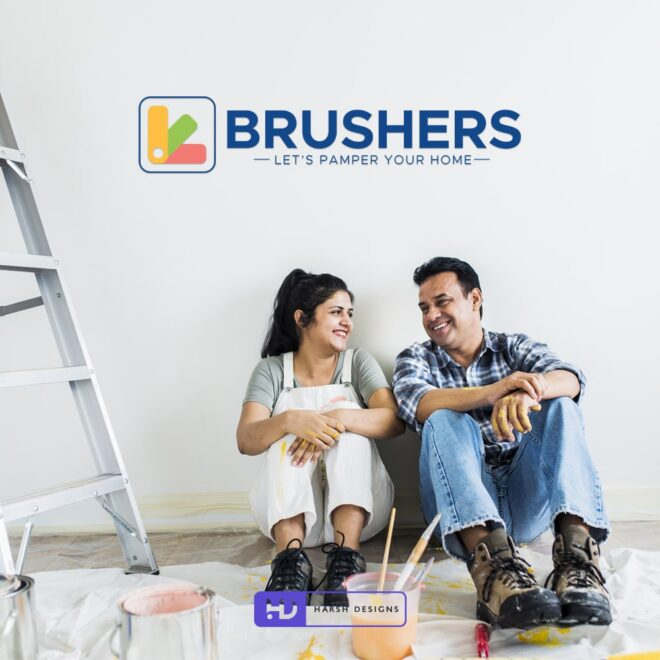 Brushers Let's Pamper Your Home - COLOR FAN DECK & COLORS SWATCHES - Painting Company Logo Design - Pictorial Mark Design - Corporate Logo Design - Graphic Design Service in Hyderabad - Logo Design Service in Hyderabad