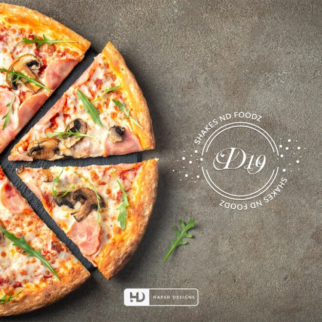D 19 Shakes and Foods - Bakery Logo Design - Emblem Logo Design Line Art - Corporate Logo Design - Graphic Design Service in Hyderabad - Logo Design Service in Hyderabad