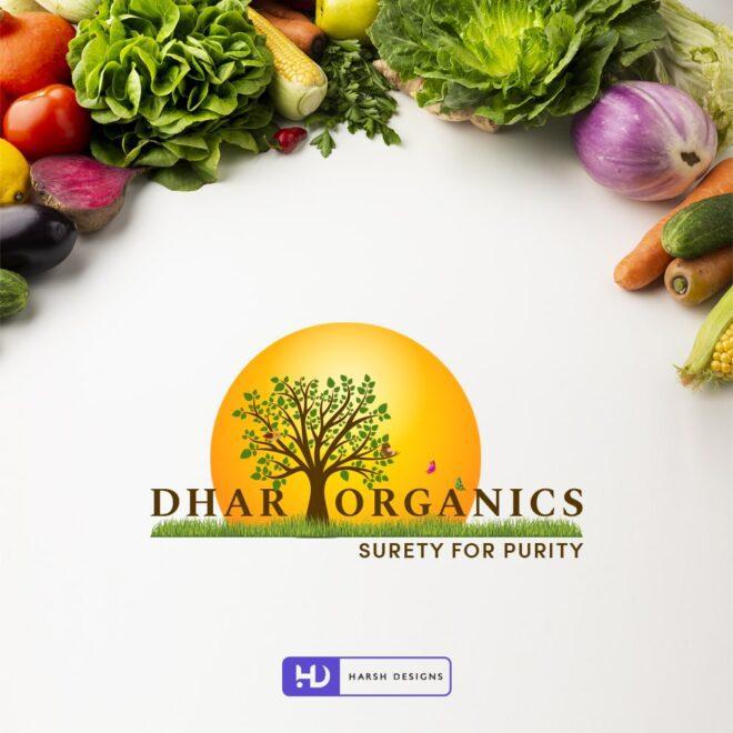 Dhar Organics Surety for purity - Organic Food Logo - Pictorial Mark Logo Design - Nature Logo Design - Corporate Logo Design - Graphic Design Service in Hyderabad - Logo Design Service in Hyderabad