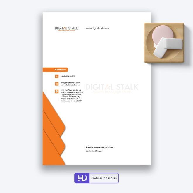 Digital Stalk Letter Head Design - Corporate Identity and Business Stationery Design - Harsh Designs - Stationery Design / Brochure Design Service in Hyderabad - Graphic Design Service in Hyderabad