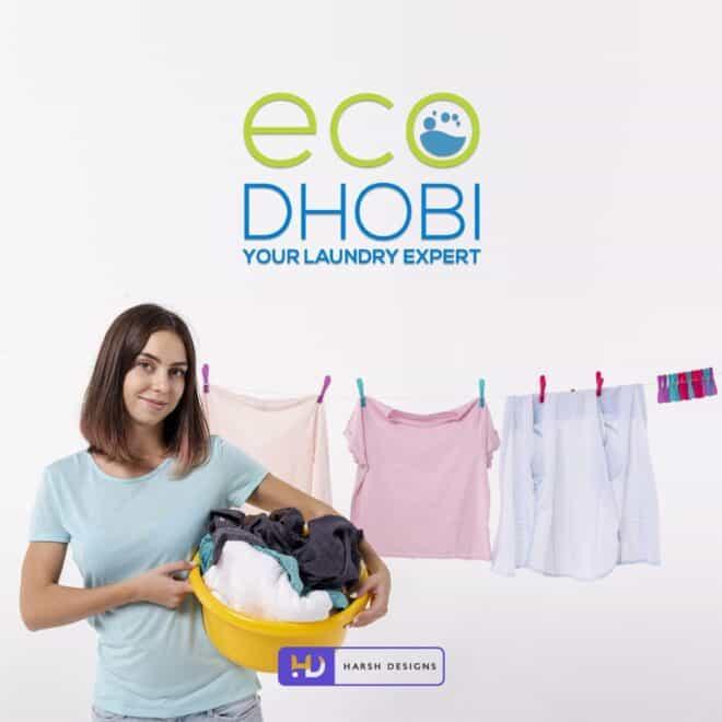 ECO DHOBI Your Laundry Expert - Laundry Logo Design - Abstract Logo Design - Washing Machine Logo Design - Corporate Logo Design - Graphic Design Service in Hyderabad - Logo Design Service in Hyderabad