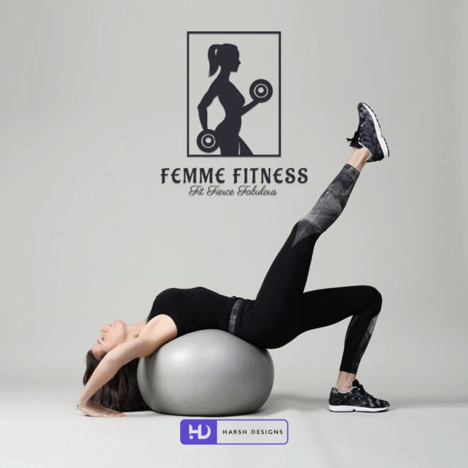 Femme Fitness Fit Fierce Fabulous - Gym Logo Design - Pictorial Mark Logo Design - Women GYM Logo Design - Corporate Logo Design - Graphic Designer Service in Hyderabad-min