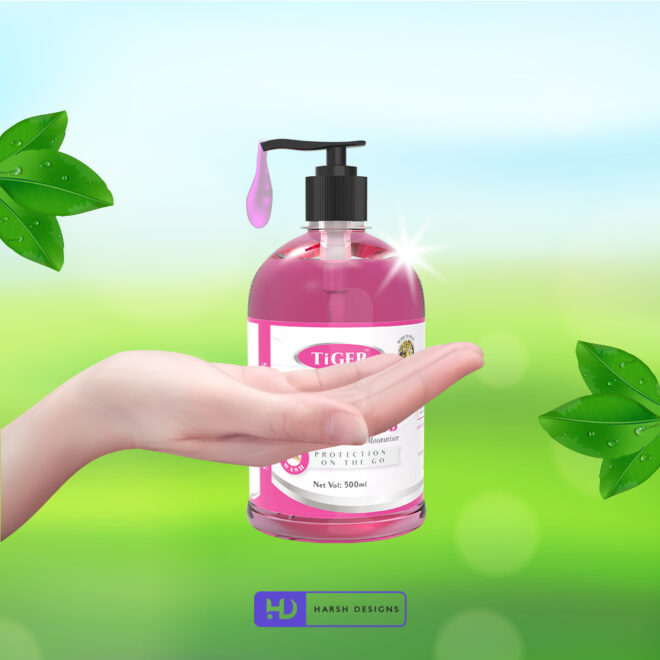 Hand Rub Lotion - Tiger - Product Design - Lable Designs - Package Design - Graphic Designing Service in Hyderabad 2