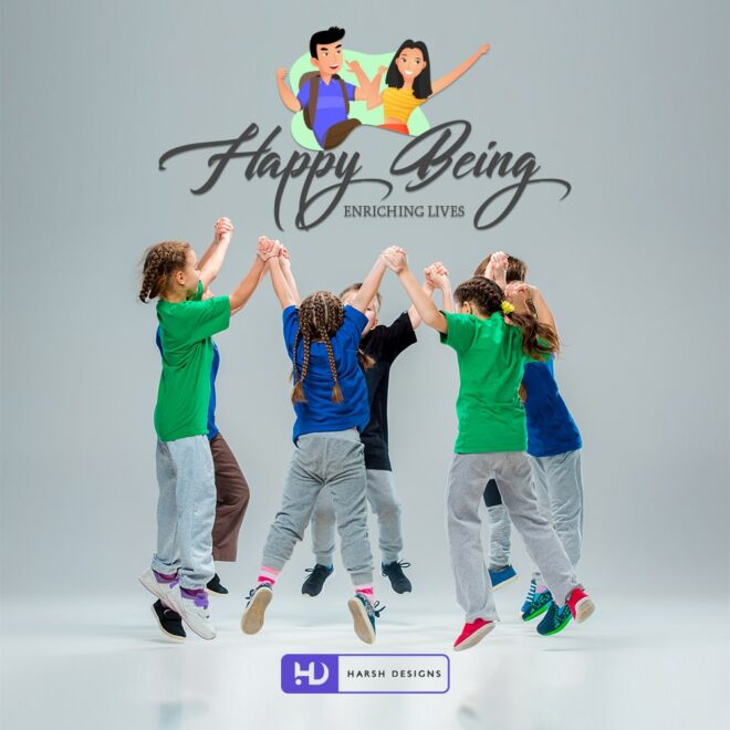 Happy Being Enriching Lives - Children Logo Design - Mascots Logo Design - Character Logo Design - Corporate Logo Design - Graphic Design Service in Hyderabad - Logo Design Service in Hyderabad