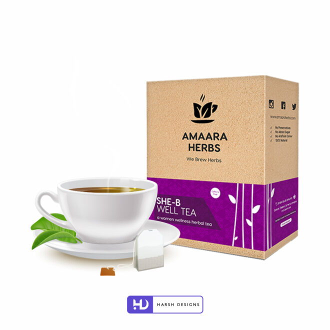 Herbal Tea for Women - She B Wellness Tea - Amaara Herbs We Brew Herbs - Product Design - Lable Designs - Package Design - Graphic Designing Service in Hyderabad 1