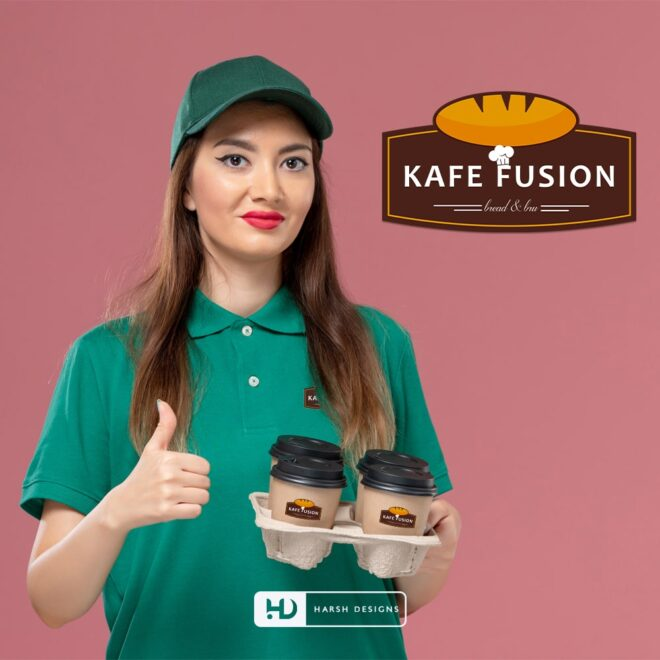 Kafe Fusion Bread & Bru - Cafeteria Logo Design - Coffee Shop - Emblem Logo Design - Corporate Logo Design - Graphic Designer Service in Hyderabad-min