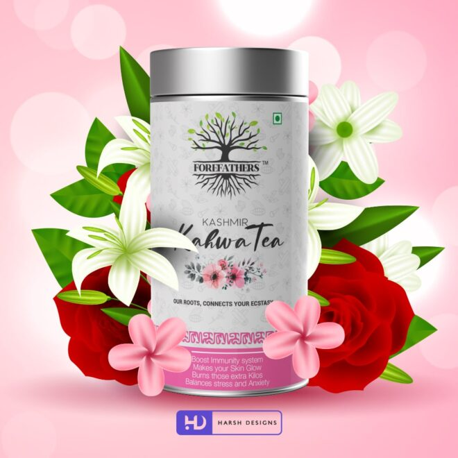 Kashmir Kahwa Tea 2 - Forefathers Products - TruRadix Products - Premium Teas - Product Design - Lable Designs - Package Design - Graphic Designing Service in Hyderabad-min