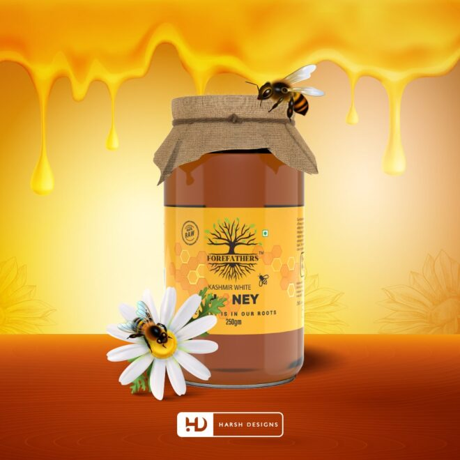 Kashmir White Honey 2 - 100% Raw Honey - Forefathers Products - TruRadix Products - Product Design - Lable Designs - Package Design - Graphic Designing Service in Hyderabad-min