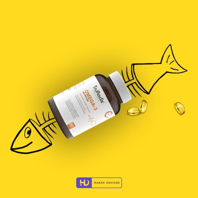 Omega 3 Nutrition Softgels 2 - Forefathers Products - TruRadix Products - Product Design - Lable Designs - Package Design - Graphic Designing Service in Hyderabad-min