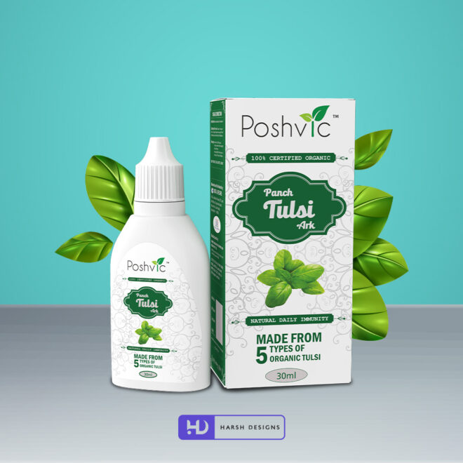 Panch Tulsi Ark - Poshvic - Organic Tulsi - Product Design - Lable Designs - Package Design - Graphic Designing Service in Hyderabad 2