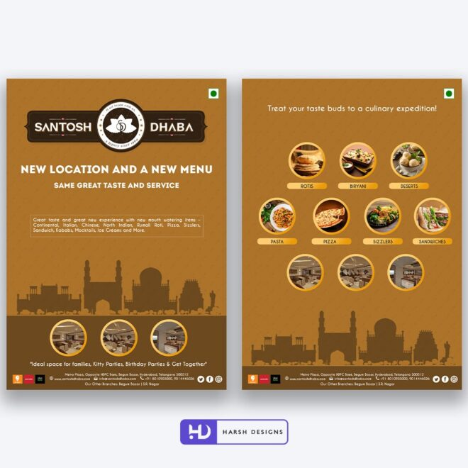 Santosh Dhaba Flyer Design - Corporate Identity and Business Stationery Design - Harsh Designs - Stationery Design / Brochure Design Service in Hyderabad - Graphic Design Service in Hyderabad