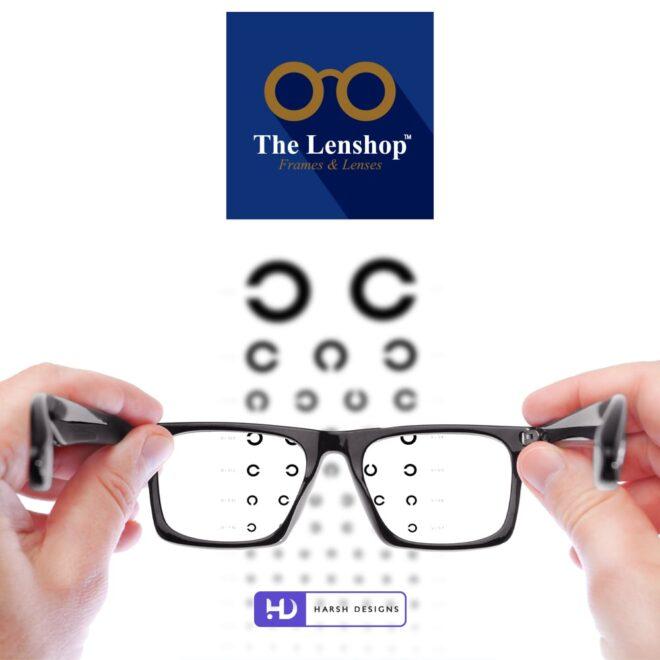 The Lenshop Frames and Lenses - Spects Logo Design - Lens Logo Design - Minimalistic Logo Design - Spectacles Logo Design - Corporate Logo Design - Graphic Designer Service in Hyderabad-min