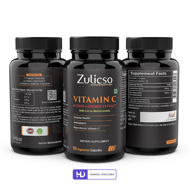 Vitamic C - Acerola Cherry Extract - Zulicso - Product Design - Lable Designs - Package Design - Graphic Designing Service in Hyderabad 1